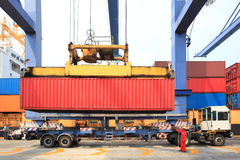 Container operation in port. Thailand Royalty Free Stock Photography