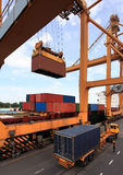 Container operation in port. Thailand Royalty Free Stock Images