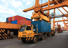 Container operation in port. Thailand Royalty Free Stock Image