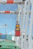 Container operation in port with cranes and gantry loading / dis Royalty Free Stock Image