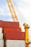 Container operation in port Stock Image