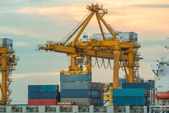 Container operation in port series Stock Image