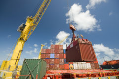 Container operation in port. Stock Photos