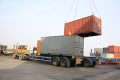 Container operation in port Royalty Free Stock Photo