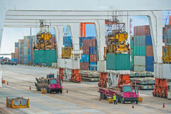 Container operation in sea port Royalty Free Stock Photos