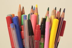 Container with pens and pencils stock photography