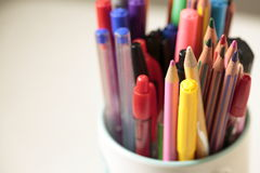 Container with pens and pencils Royalty Free Stock Photos