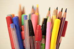 Container with pens and pencils Royalty Free Stock Images