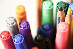Container with pens and pencils Royalty Free Stock Photo