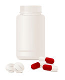 Container with pills. Stock Image
