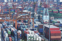 Container port. Commercial container port in Hong Kong royalty free stock photography
