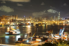 Container port. Night Scene of commercial container in Hong Kong Stock Photo