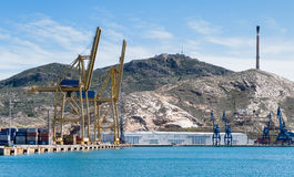 Container Port in Cartagena, Spain Royalty Free Stock Photos