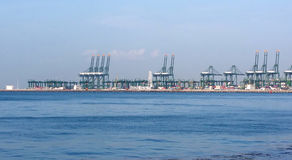 Container port. Cranes in a container port, Pasir Panjang Termnal, Singapore Stock Photo