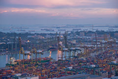 Container port at dusk Stock Photography