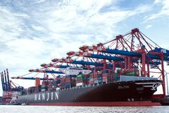 Container-port Hamburg royalty free stock image