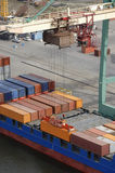 Container-port from helicopter Royalty Free Stock Photos