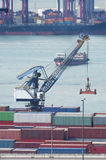 Container port. And highway in Hong Kong Stock Photo
