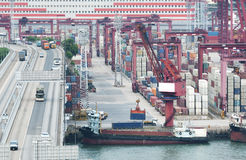 Container Port and Highway Stock Images