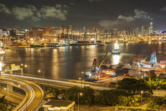 Container Port and Highway Stock Photo
