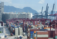 Container port. In Hong Kong Stock Photography