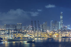 Container port. In Hong Kong royalty free stock photography