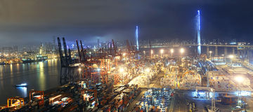 Container port in Hong Kong Stock Image