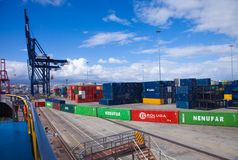 Container port in Las Palmas Royalty Free Stock Photo