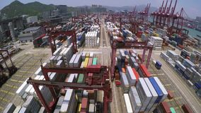 Container Port. Marvelous 4K Aerial Shot. stock video