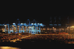 Container in port at night Royalty Free Stock Photos