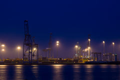 Container port at night Stock Photo
