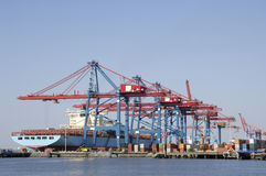 Container-port from the sea Royalty Free Stock Photo