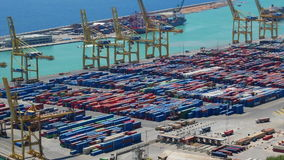 Container port ship aerial stock video