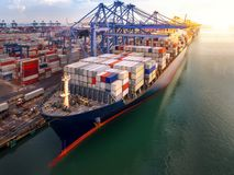 Container port and container ship transportation royalty free stock photos