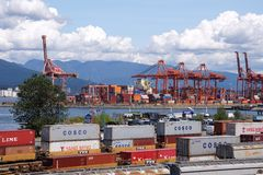 Container port. VANCOUVER is the busiest port for importing goods from Asia in containers and shipping them across the continent by rail stock photo