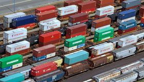Container port. Vancouver is Canada's busiest port for importing goods from Asia in containers and shipping them across the continent by rail stock photo