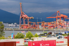 Container port at Vancouver harbor. Royalty Free Stock Photos