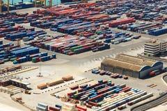 Container a porto industriale di Barcellona Fotografia Stock Libera da Diritti