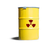 The container of radiation substance. Yellow metal tank, the container of radiation substance waste to protect toxic from pollution stock image