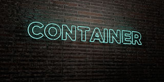 CONTAINER -Realistic Neon Sign on Brick Wall background - 3D rendered royalty free stock image Stock Photography