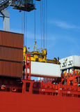 Container on red ship Stock Photography