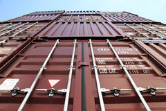 Container in rood Stock Foto's