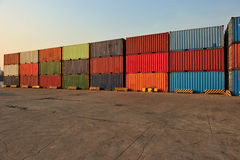 Container in a Row. In pier Stock Image