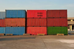 Container in a Row. In pier Royalty Free Stock Photo