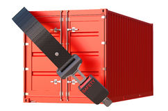 Container with safety belt, safety delivery and insurance concep Stock Images