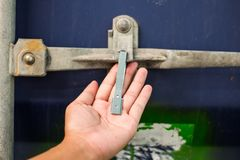 The container seal lock for protect product inside.  Royalty Free Stock Photos