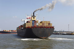 Container ship. A back view of a container ship with full of containers Stock Photography