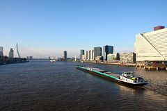 Container ship. Large container ship in the harbor of Rotterdam, the Netherlands stock photo