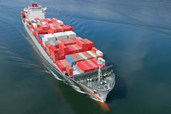Container Ship. An aerial view of a container ship Royalty Free Stock Images