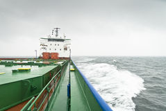 Container ship #2. View from head of container ship Stock Images